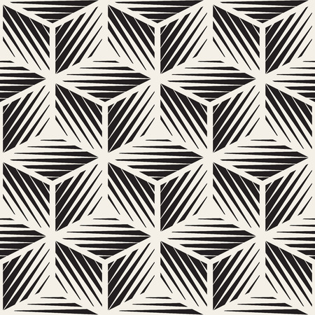 Naadloze zwart-wit kubus vorm lijnen graveren geometrische patroon. Abstracte achtergrond