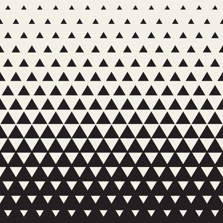 원활한 화이트 블랙 색상 전환 삼각형 하프 톤 그라데이션 패턴. 추상적 인 기하학적 배경 디자인 일러스트