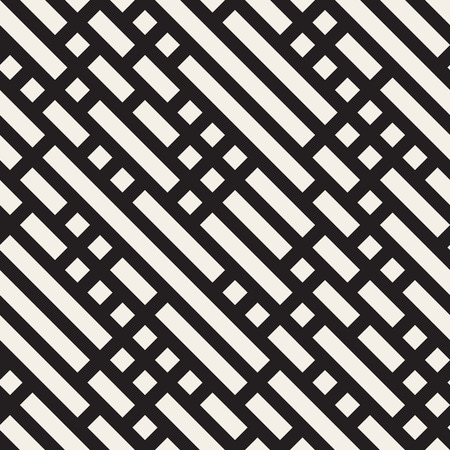 Seamless Black And White Diagonal Rectangle Lines Pattern. Abstract Geometric Background Design