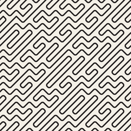 mishmash: Seamless Black And White Geometric Rounded Maze Lines Pattern. Abstract Geometric Background Design
