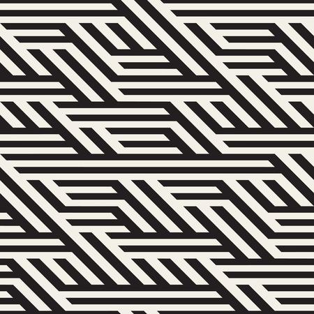 Seamless Black And White Horizontal Diagonal Lines Irregular Pattern. Abstract Geometric Background Design