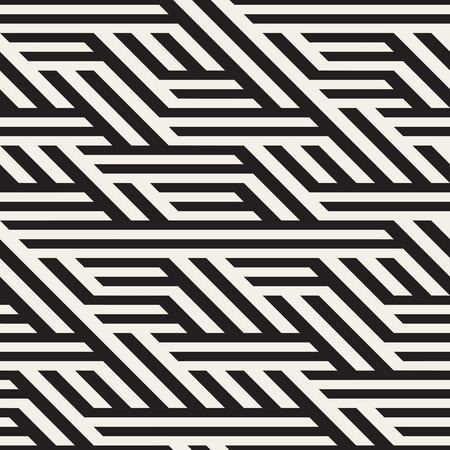 Seamless Black And White Horizontal Diagonal Lines Irregular Pattern. Abstract Geometric Background Design