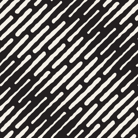 Vector Seamless Black And White Hand Drawn Daigonal Dash Lines Halftone Pattern. Abstract Freehand Background Design