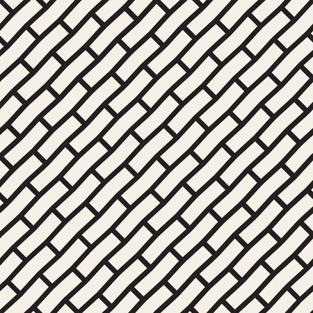 pavement: Vector Seamless Black And White Brick Pavement Diagonal Lines Pattern. Abstract Geometric Background Design