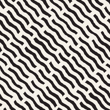Vector Seamless Black And White Hand Drawn Daigonal Wavy Lines Geometric Pattern. Abstract Freehand Background Design