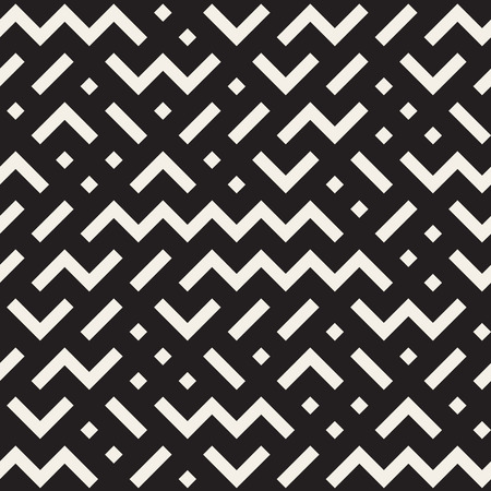 repeats: Vector Seamless Black And White Jumble ZigZag Lines Pattern Abstract Background