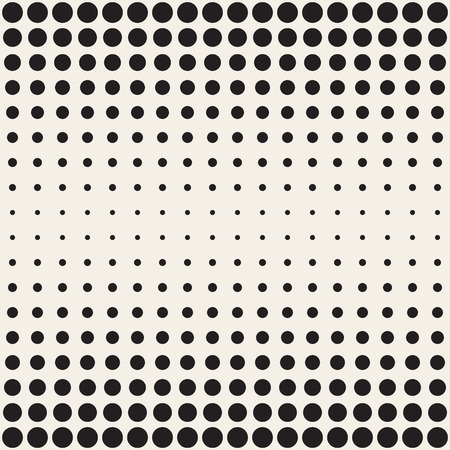 perforation: Vector Seamless Black and White Circles Horizontal Gradient Halftone Pattern. Abstract Geometric Background Design