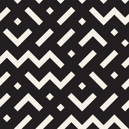 jumble: Vector Seamless Black and White Geometric Shapes Jumble Pattern. Abstract Geometric Background Design