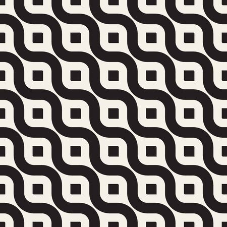 black lines: Vector Seamless Black And White Diagonal Wavy Lines Geometric Pattern. Abstract Geometric Background Design
