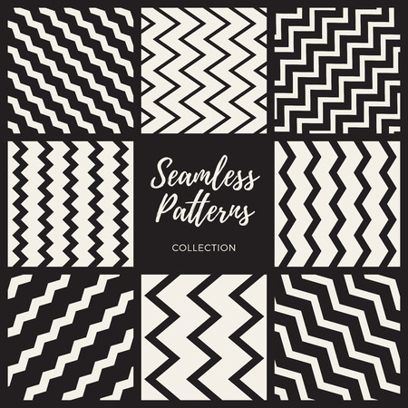 Set of Eight Vector Seamless Black and White ZigZag Lines Patterns Collection. Abstract Geometric Background Design