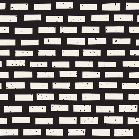 horizontal lines: Vector Seamless Black And White Hand Drawn Horizontal Lines Grungy Brick Pattern. Abstract Freehand Background Design Illustration