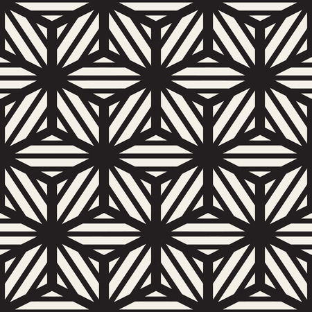 Vector Seamless Black And White Cube Lines Grid Pattern. Abstract Geometric Background Design