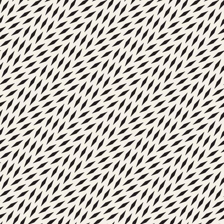 Vector Seamless Black And White Diagonal Lines Halftone Rectangles Pattern. Abstract Geometric Background Design