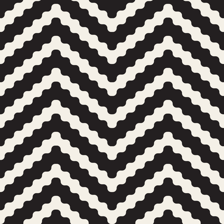 jagged: Vector Seamless Black and White ZigZag Rounded Lines Geometric Pattern. Abstract Geometric Background Design