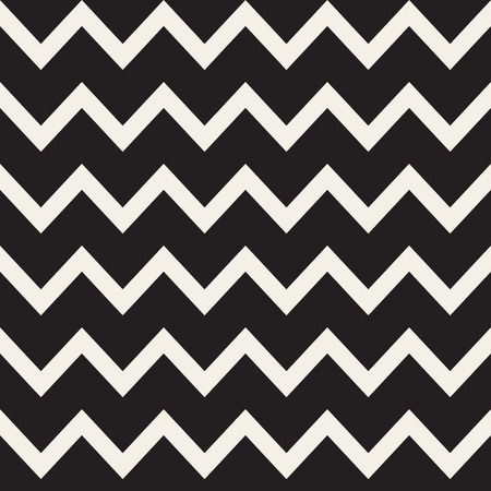jagged: Vector Seamless Black and White ZigZag Horizontal Lines Geometric Pattern. Abstract Geometric Background Design Illustration