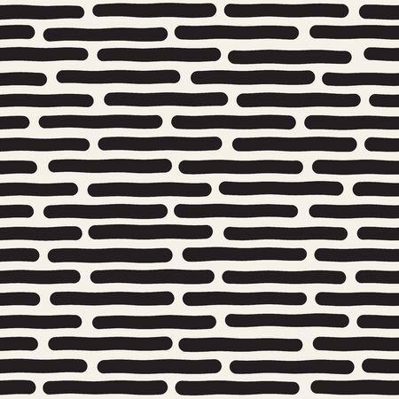lineas horizontales: Vector sin fisuras en blanco y negro mano dibujado líneas horizontales patrón. Diseño abstracto a mano alzada