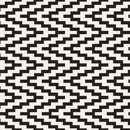jagged: Vector Seamless Black and White ZigZag Jagged Lines Geometric Pattern. Abstract Geometric Background Design