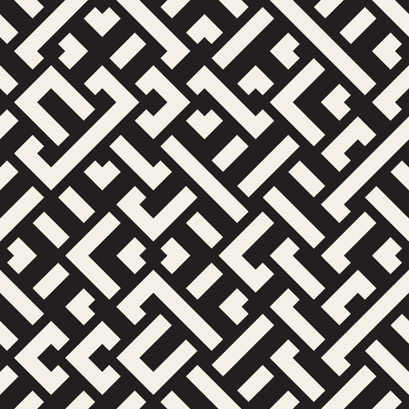 intersect: Vector Seamless Black and White Diagonal Maze Lines Pattern. Abstract Geometric Background Design Illustration