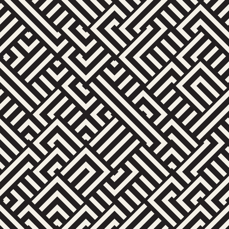Vector Seamless Black and White Diagonal Maze Lines Geometric Pattern. Abstract Geometric Background Design