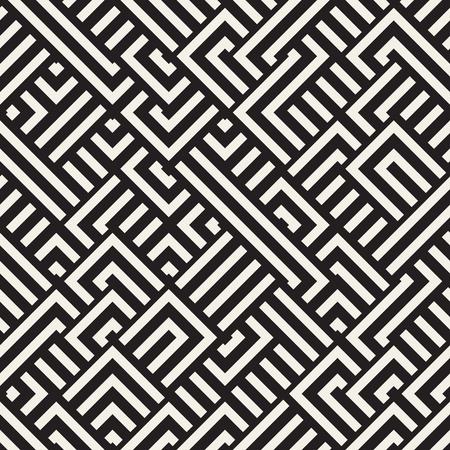 Vector Seamless noir et blanc Diagonal Maze Lines motif géométrique. Résumé géométrique Contexte Conception