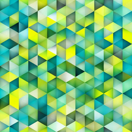 shape vector: Vector Seamless Multicolor Green Blue Gradient Triangle Shape Grid Pattern. Abstract Geometric Background Design Illustration