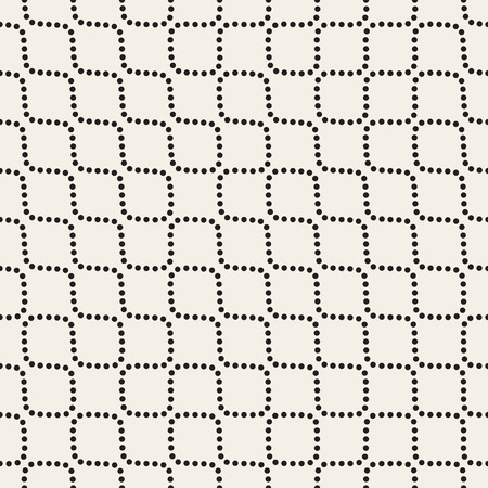 perforation: Vector Seamless Black and White Dotted Wavy Lines Pattern. Abstract Geometric Background Design
