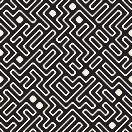 intersect: Vector Seamless Black and White Maze Lines Pattern. Abstract Geometric Background Design Illustration