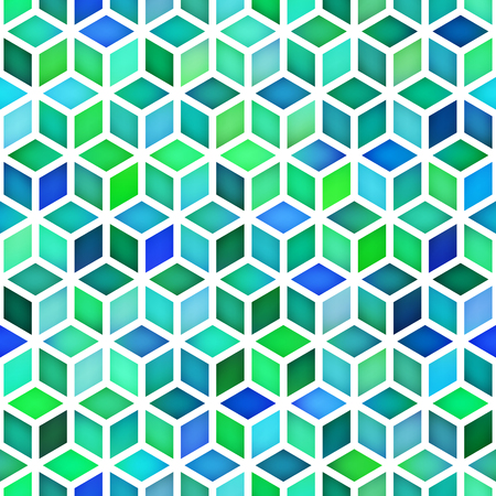 Vector Seamless Multicolor Green Blue Shades Gradient Cube Shape Rhombus Grid Pattern. Abstract GeometricBackground Design Illustration