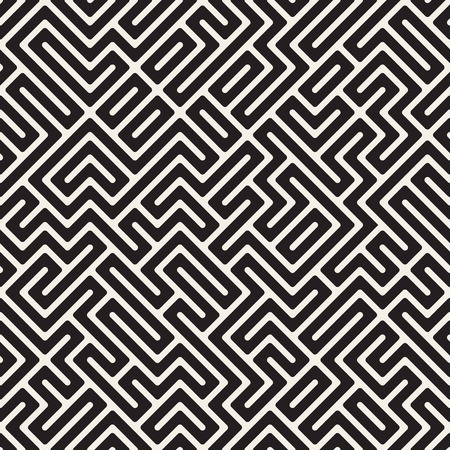 Vector Seamless Black and White Maze Lines Pattern. Abstract Geometric Background Design Ilustração