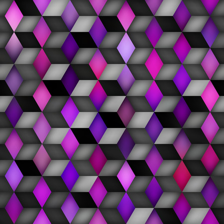 Vector Seamless Multicolor Gradient Cube Shape Rhombus Grid Purple Pink Shades Pattern. Abstract Geometric Background Design