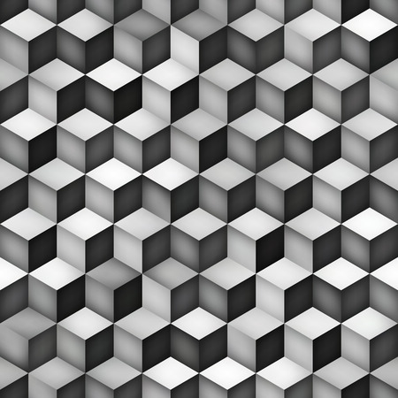 greyscale: Vector Seamless Greyscale Gradient Cube Shape Rhombus Grid Pattern. Abstract Geometric Background Design