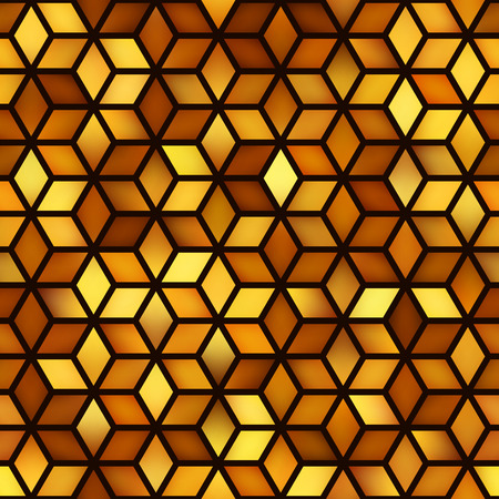 Seamless Golden Shades Gradient Cube Shape Rhombus Grid Pattern. Abstract Geometric Background Design