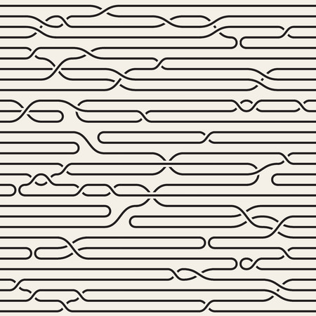 interlacing: Seamless Black and White Irregular Interlacing Horizontal Braid Lines Pattern. Abstract Geometric Background Design