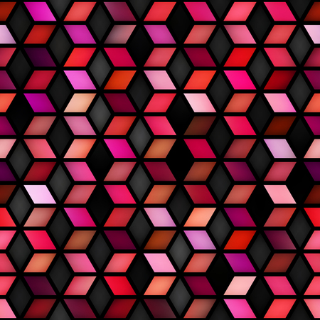 Vector Seamless Multicolor Gradient Cube Shape Rhombus Grid Pattern. Abstract Geometric Background Design