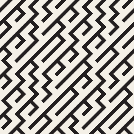 skew: Vector Seamless Black And White Irregular Diagonal Lines Pattern. Abstract Geometric Background Design Illustration