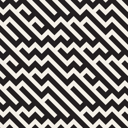 Vector Seamless Black And White Irregular ZigZag Diagonal Lines Pattern. Abstract Geometric Background Design