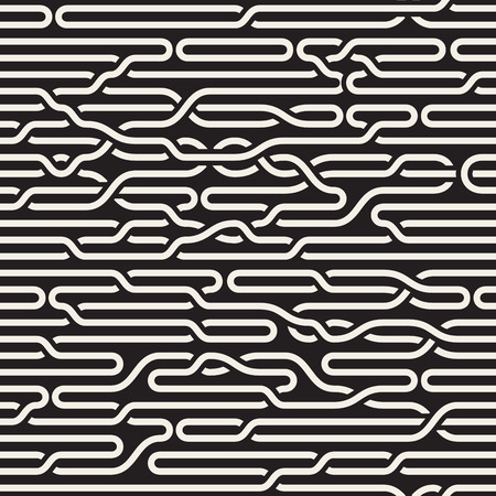 braid: Vector Seamless Black and White Irregular Horizontal Braid Lines Pattern. Abstract Geometric Background Design Illustration