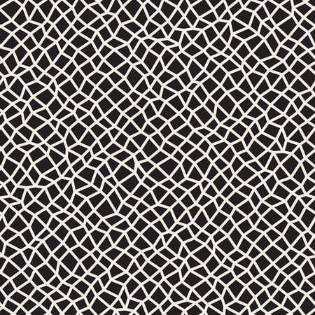 Vector Seamless Black and White Distorted Rectangle Mosaic Grid Pattern. Abstract Geometric Background Design Illustration