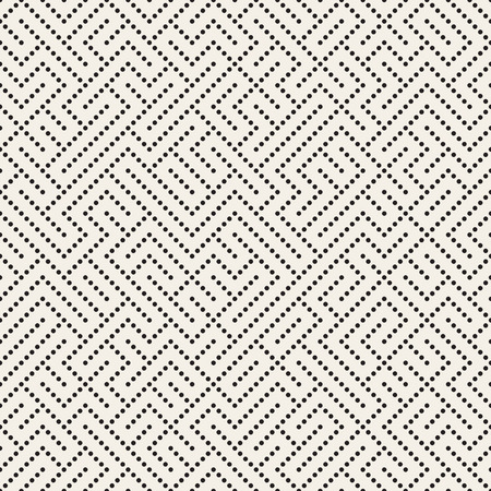 perforation: Vector Seamless Black and White Dotted Irregular Maze Perforation Pattern. Abstract Geometric Background Design