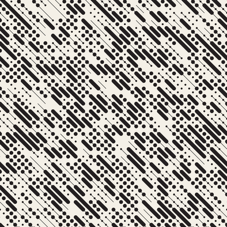 black lines: Vector Seamless Black and White Irregular Diagonal Dash Lines Pattern. Abstract Geometric Background Design