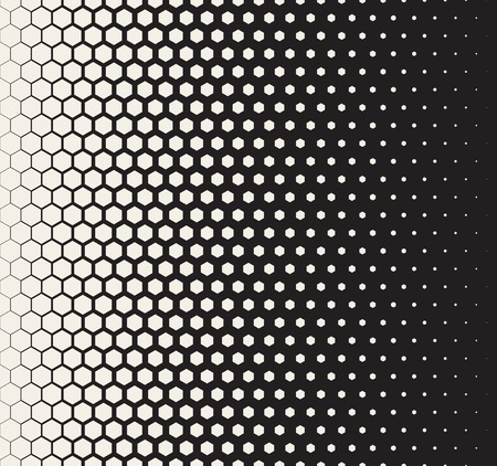 Vector Seamless Black and White Transition Halftone Hexagonal Grid Pattern. Abstract Geometric Background Design Illustration