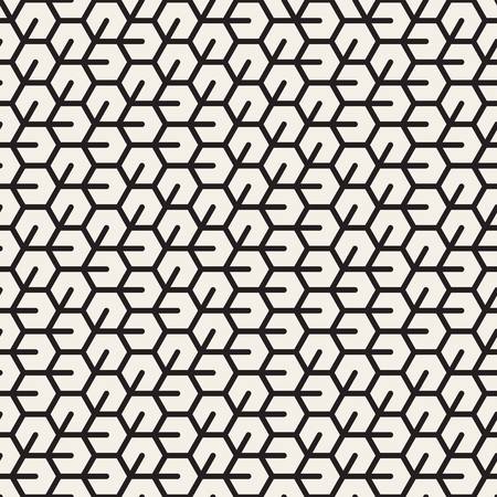 Vector Seamless Black And White Irregular Hexagonal Grid Pattern