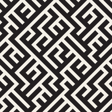 Vector Seamless Black And White Irregular Diagonal Lines Pattern. Abstract Geometric Background Design Illustration