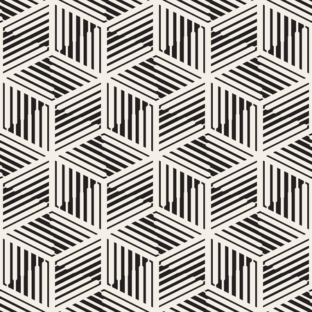 grid pattern: Vector Seamless Black and White Cube Lines Grid Pattern. Abstract Geometric Background Design