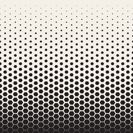 Vector Seamless Black and White Transition Halftone Hexagonal Grid Pattern. Abstract Geometric Background Design Vettoriali