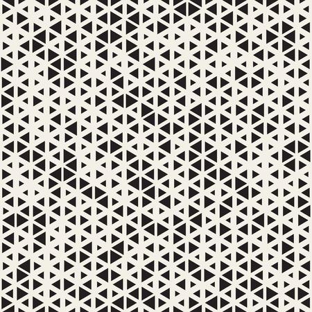 ベクトル黒と白のシームレスなランダムなサイズの三角形格子パターン。抽象的な幾何学的な背景デザイン