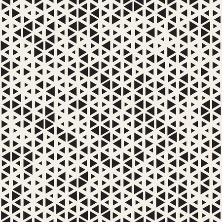 Vector Seamless Black and White Random Size Triangles Grid Pattern. Abstract Geometric Background Design