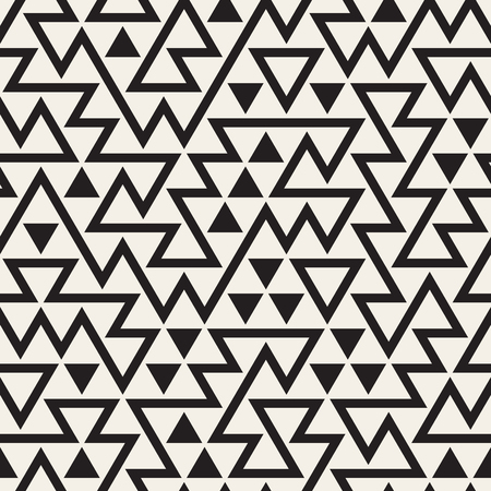 grid pattern: Vector Seamless Black and White Irregular Triangles Grid Pattern. Abstract Geometric Background Design