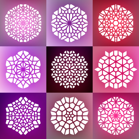 Set of Nine Vector Decorative Mandala Ornaments Illustration. Abstract Geometric Background Design 向量圖像