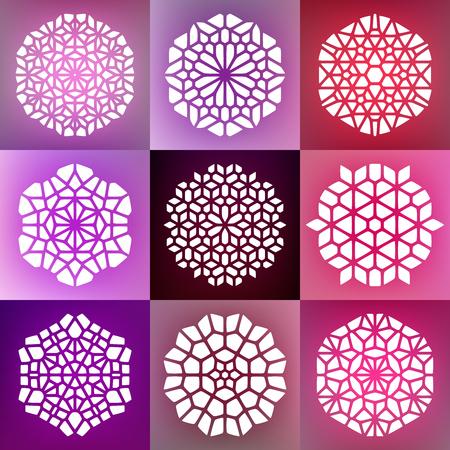 Set of Nine Vector Decorative Mandala Ornaments Illustration. Abstract Geometric Background Design Vettoriali